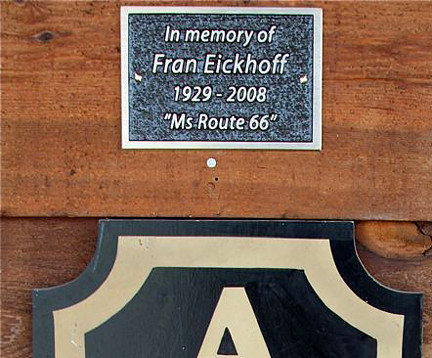 Detail of the Fran Eickhoff plaque near the entrance of Fanning 66 Outpost and General Store in Fanning, Mo.