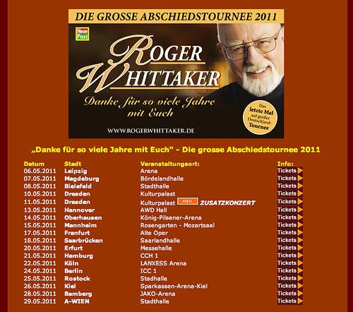 Roger Whittaker 2011 tour