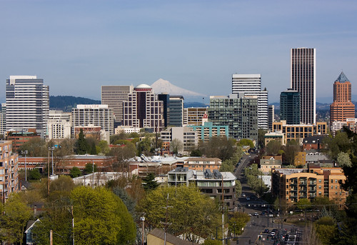 Downtown Portland, OR depuis le Vista Bridge