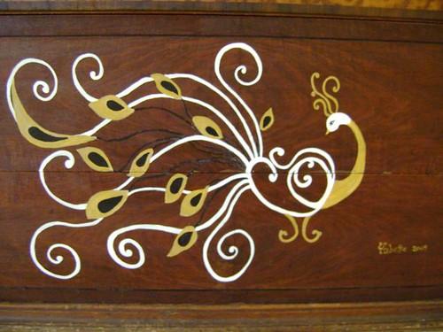 peacock dresser detail