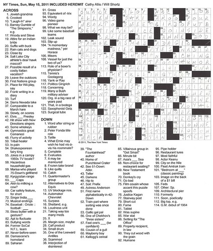 NYT Sunday Puzzle - May 15, 2011