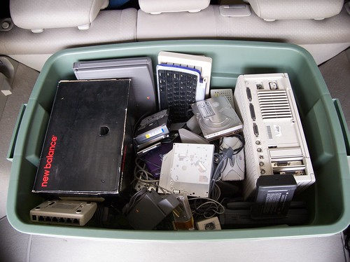 Box of electronics for recycling