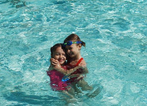 Grace and Dani at Swim Gala