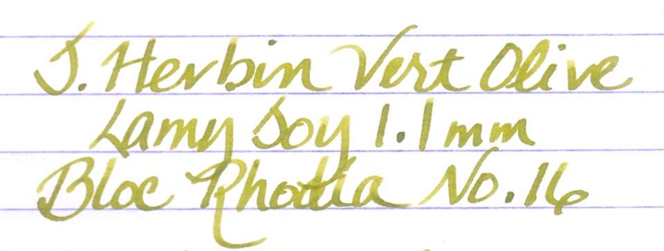 J. Herbin Vert Olive Written Sample