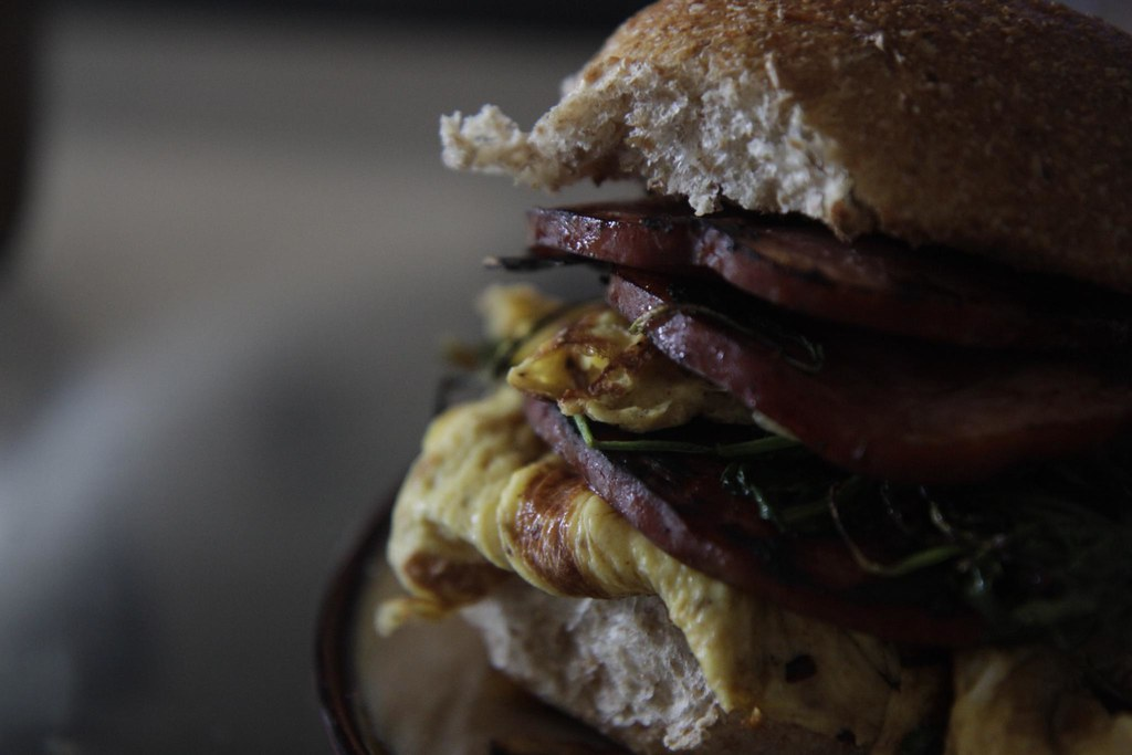 Ham, egg, arugula, shallots, and a crispy wheat bun!