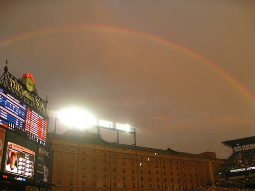 Matt Wieters and the rainbow over the Warehouse
