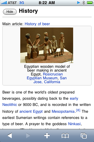 screen shot of beer article expanded
