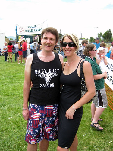 I figured the Fourth of July was the one day a year Kinsee would let me get away with wearing my awesome Billy Goat tank-top (with the proprietor of the Billy Goat Saloon).