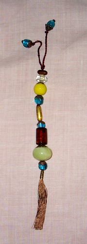 Blue, Yellow & Brown with Light Green Jade Bag Charm