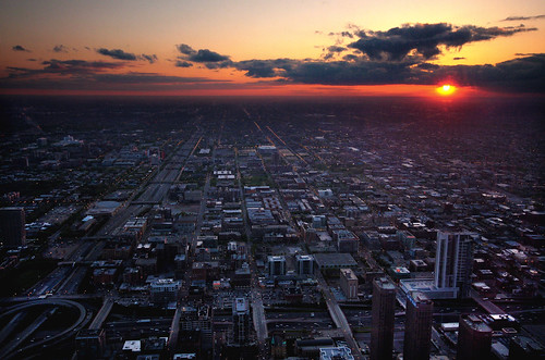 Sunset from Sears Tower by aepoc
