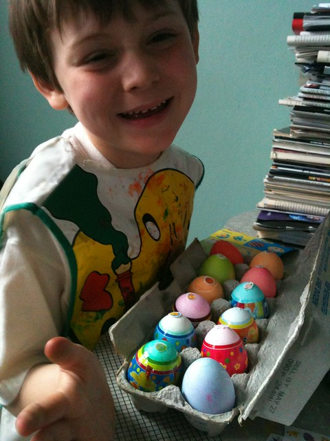 Charlie with eggs