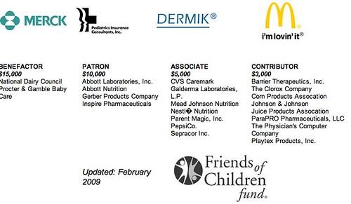 AAP sponsor page screenshot - formula and pharmaceutical companies, mcdonald's, pepsi, etc