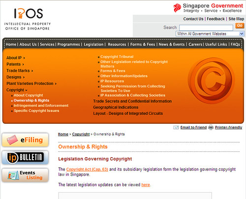 IPOS website mentioning Creative Commons