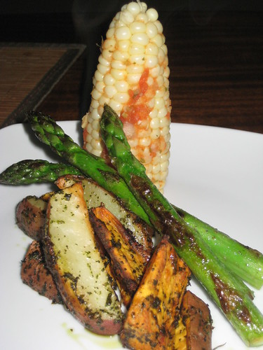 Roasted Potatoes, Asparagus and Salsa Corn