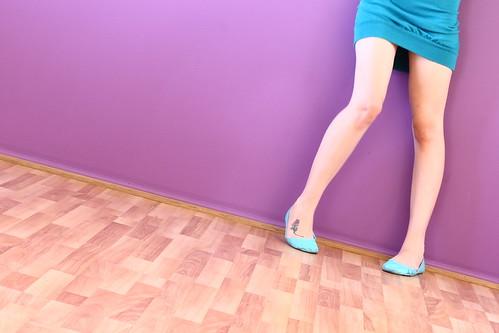 Legs down on the wooden floor
