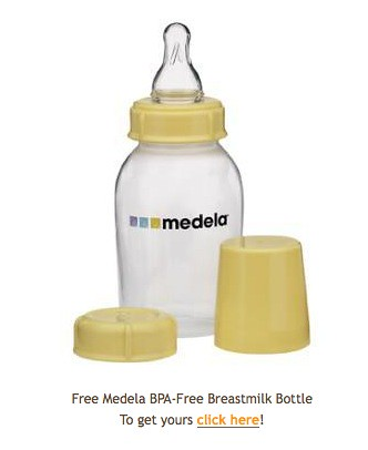 Bottle and teat image captioned Free Medela BPA Free Breastmilk Bottle. To get yours, click here!
