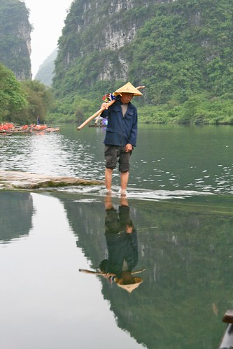 Wading through the Yulong River