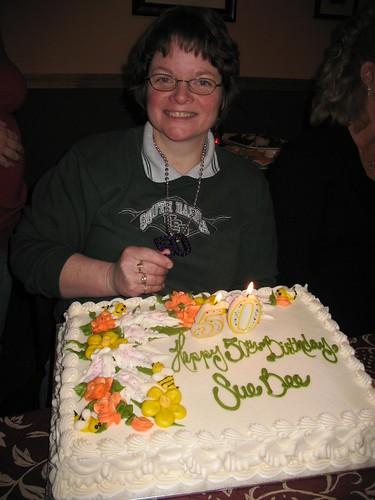 Mom and her birthday cake