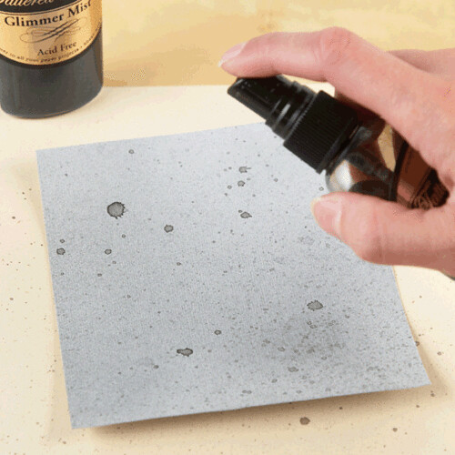 Step 1: Spray cardstock with silver and graphite shimmer spray.