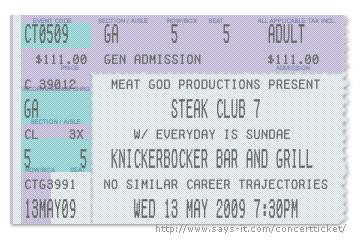knickerbocker bar and grill steak club 7 ticket
