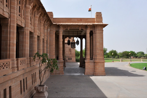 Side view of the main entrance