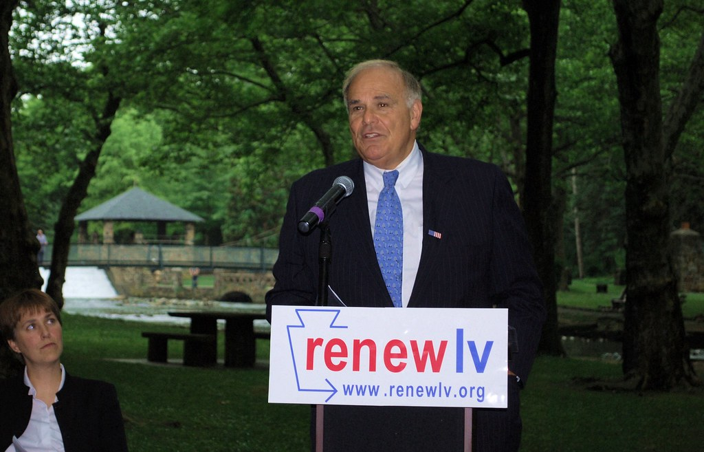 Governor Rendell gives remarks on RenewLVs Regional Water Initiative.  Seated on the left is Deana Zosky, Co-Chair of RenewLV.