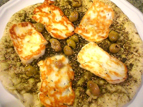 Grilled Halloumi Cheese w/ Greek olives on Zattar Bread