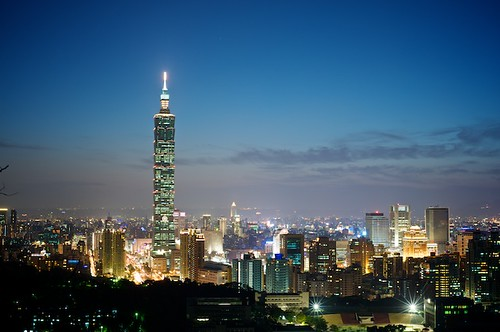 The view of Taipei 101 and Taipei City from Tiger Mountain.