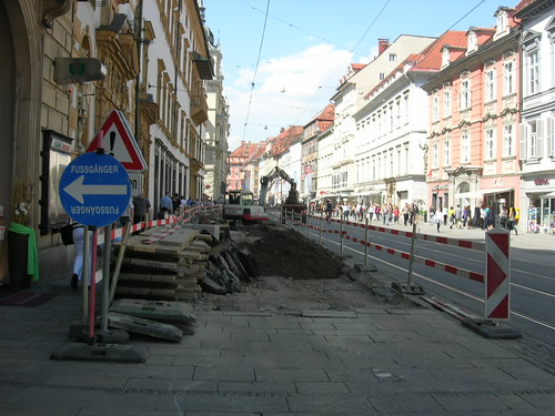 Näkymä Grazin Herrengasselta viime viikolta