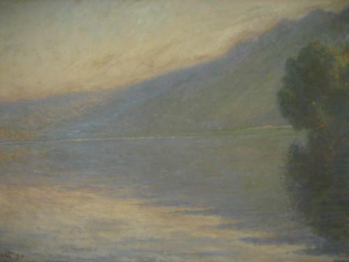 Monet...Brume sur la Seine (Fog on the Seine) 1894 ถ้าไม่บอกไม่รู้นะเนี่ยว่าโมเน่ต์ หลังๆต้องใส่ใจปีมากขึ้น เพราะจะเห็นพัฒนาการว่าโมเน่ต์เป็นตาต้อกระจกมากขึ้นเรื่อยๆ