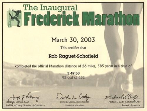 Frederick Marathon finisher certificate