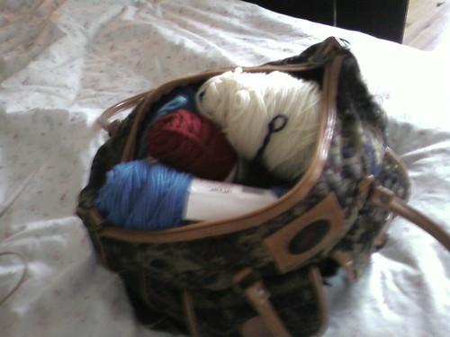 Carpet Bag full of yarn