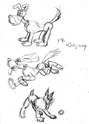 Preston Blair inspired drawings, Jully 4, 2009