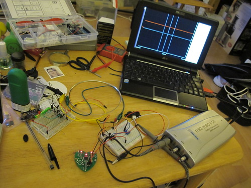 Hacking the Heart Spark with a proximity sensor - testing on the sillyscope