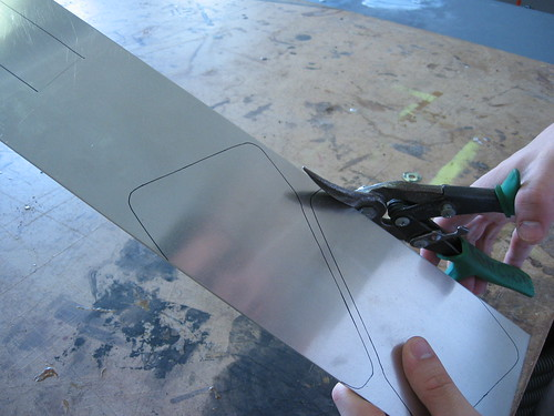 Cutting design out of metal with snips