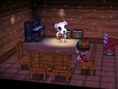 Deb being serenaded by K.K. Slider
