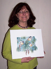Janet & Chickadees Art in the Woods