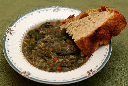 Lentil Soup with Caramelized Onion, Rice, and Spinach