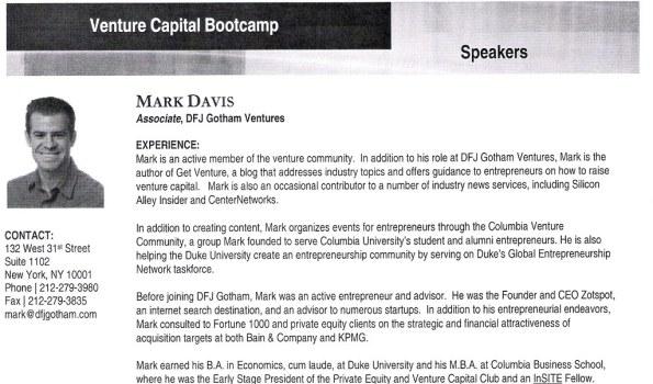 Venture Capital Bootcamp 2009 - Mark Davis