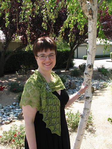 Leaf Lace Shawl: in garden