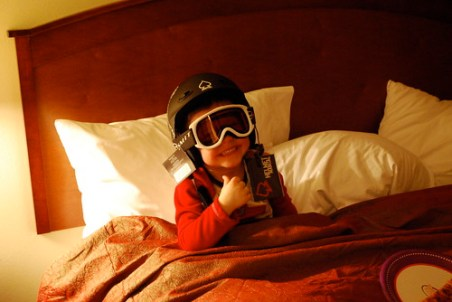 Jay testing out his new ski helmet and goggles