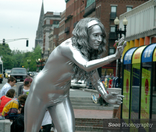 Silver performance artist in Harvard Square
