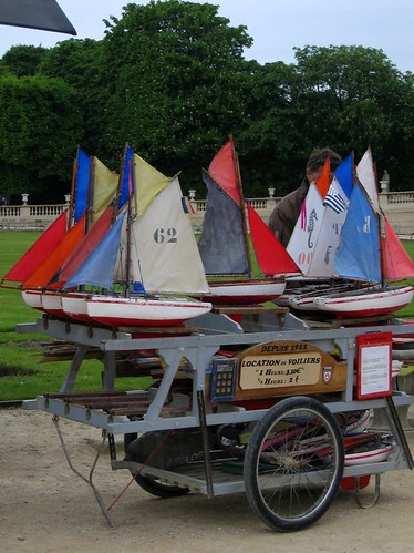 Toy boats for rent in the Jardin du Luxembourg.