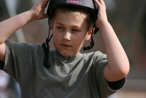 Tabloid-ish helmet shot
