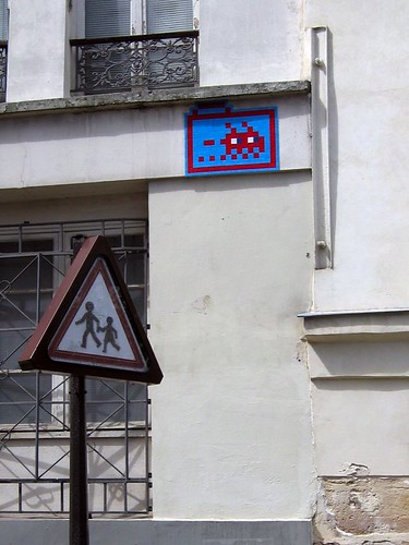 Paris Space Invader, going fast.