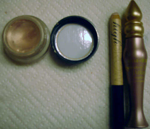 MAC Paint Pot in Bare Study, Benefit High Brow, Urban Decay Sin Potion