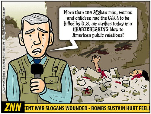 Afghanistan bombing by US planes, cartoon by Mikhaela