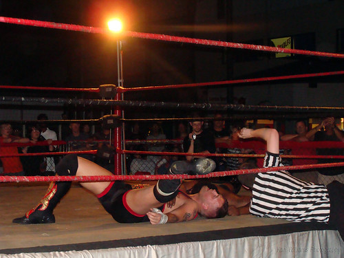 Controversy ensued after the referee made a three count, awarding Ruddick the belt, despite Wyatts foot being on the ropes. Photo by Kari Williams