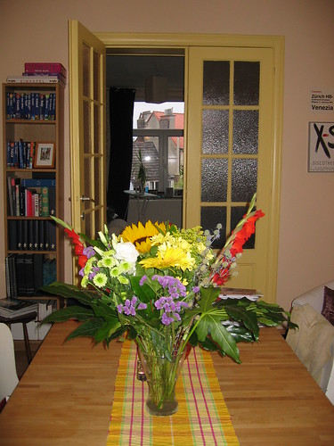 Yellow doors, yellow table runner and some yellow flowers