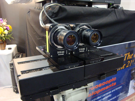 This rig is holding two SI-2K Minis on a tripod for stereoscopic (3D) production.
